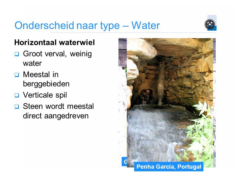 Gifhorn Onderscheid naar type – Water Horizontaal waterwiel  Groot verval, weinig water  Meestal in berggebieden  Verticale spil  Steen wordt mees