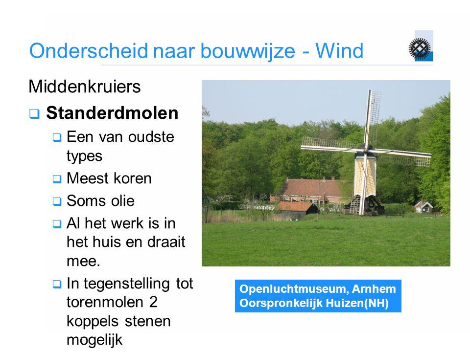 Openluchtmuseum, Arnhem Oorspronkelijk Huizen(NH) Onderscheid naar bouwwijze - Wind Middenkruiers  Standerdmolen  Een van oudste types  Meest koren