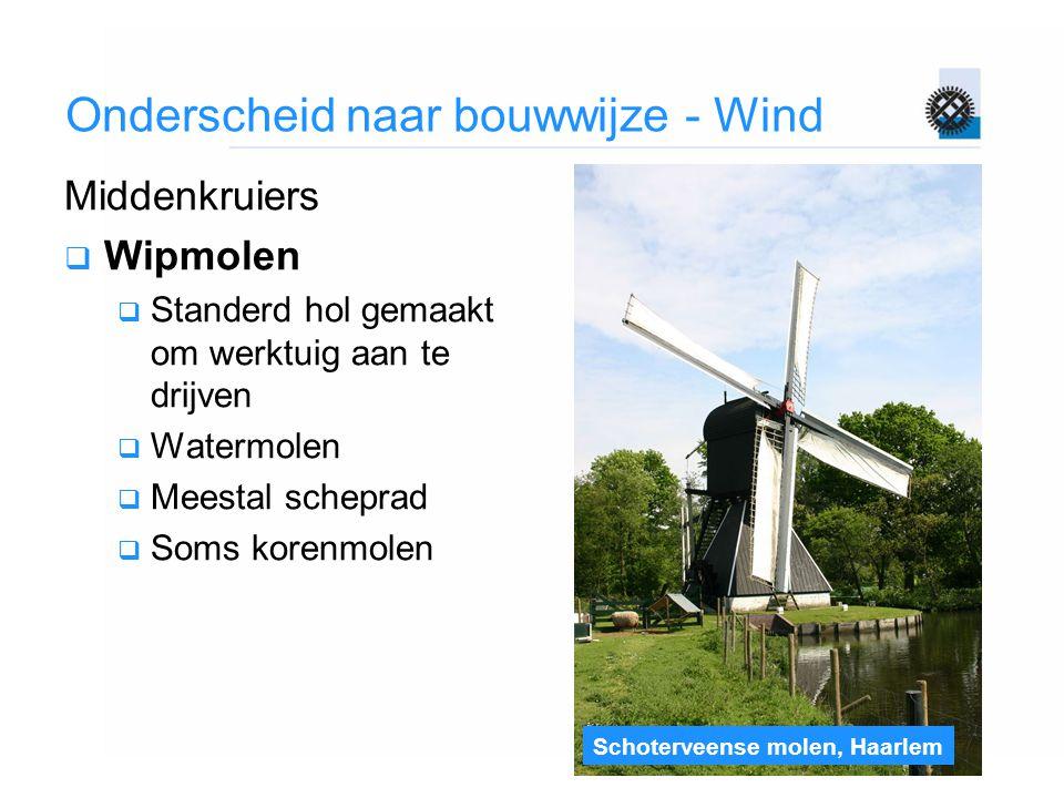 Schoterveense molen, Haarlem Onderscheid naar bouwwijze - Wind Middenkruiers  Wipmolen  Standerd hol gemaakt om werktuig aan te drijven  Watermolen