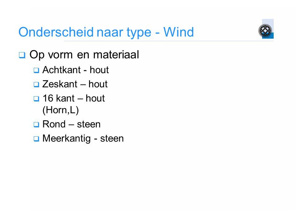 Onderscheid naar type - Wind  Op vorm en materiaal  Achtkant - hout  Zeskant – hout  16 kant – hout (Horn,L)  Rond – steen  Meerkantig - steen