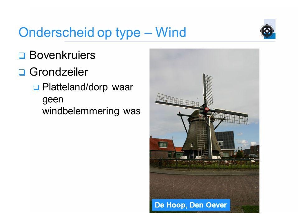De Hoop, Den Oever Onderscheid op type – Wind  Bovenkruiers  Grondzeiler  Platteland/dorp waar geen windbelemmering was