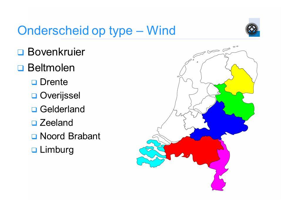 Onderscheid op type – Wind  Bovenkruier  Beltmolen  Drente  Overijssel  Gelderland  Zeeland  Noord Brabant  Limburg