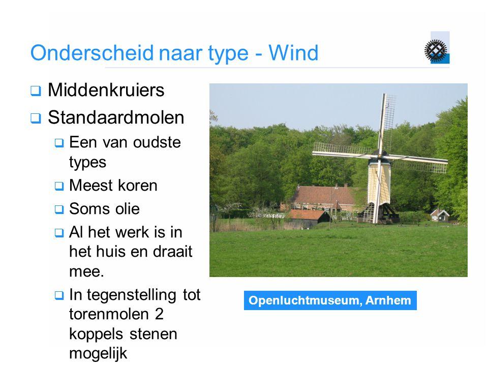 Openluchtmuseum, Arnhem Onderscheid naar type - Wind  Middenkruiers  Standaardmolen  Een van oudste types  Meest koren  Soms olie  Al het werk i