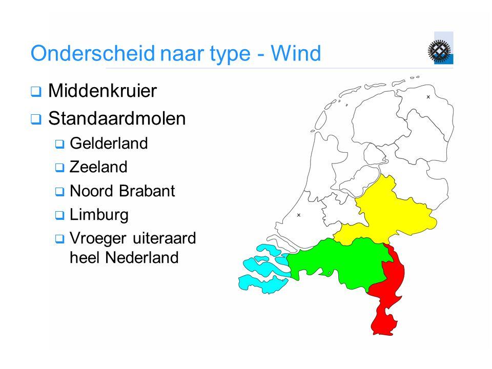 Onderscheid naar type - Wind  Middenkruier  Standaardmolen  Gelderland  Zeeland  Noord Brabant  Limburg  Vroeger uiteraard heel Nederland