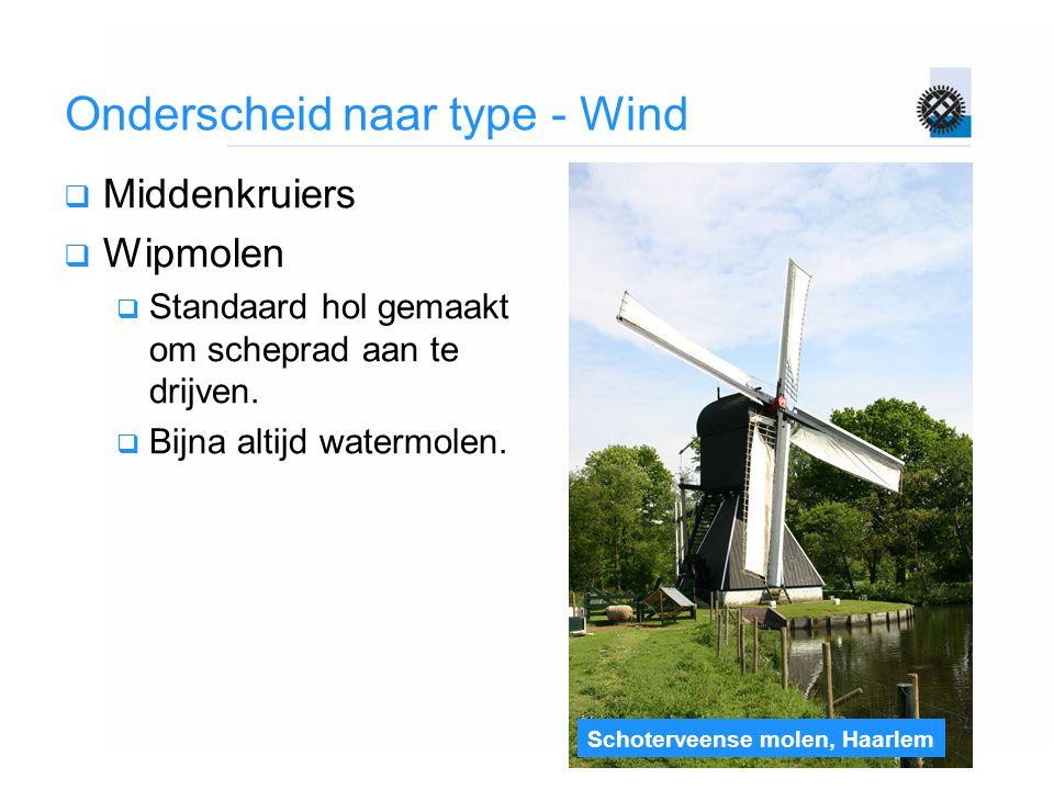 Schoterveense molen, Haarlem Onderscheid naar type - Wind  Middenkruiers  Wipmolen  Standaard hol gemaakt om scheprad aan te drijven.  Bijna altij