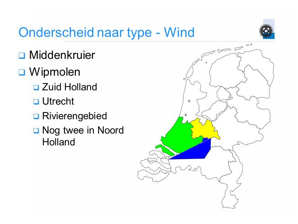Onderscheid naar type - Wind  Middenkruier  Wipmolen  Zuid Holland  Utrecht  Rivierengebied  Nog twee in Noord Holland