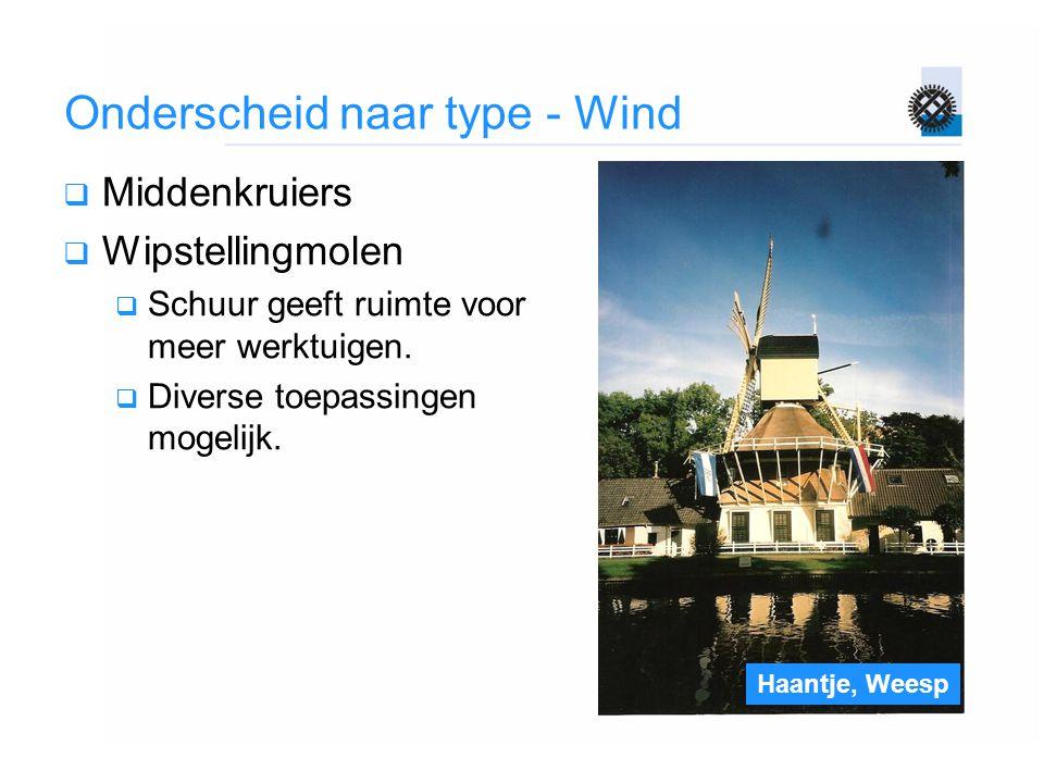 Haantje, Weesp Onderscheid naar type - Wind  Middenkruiers  Wipstellingmolen  Schuur geeft ruimte voor meer werktuigen.  Diverse toepassingen moge