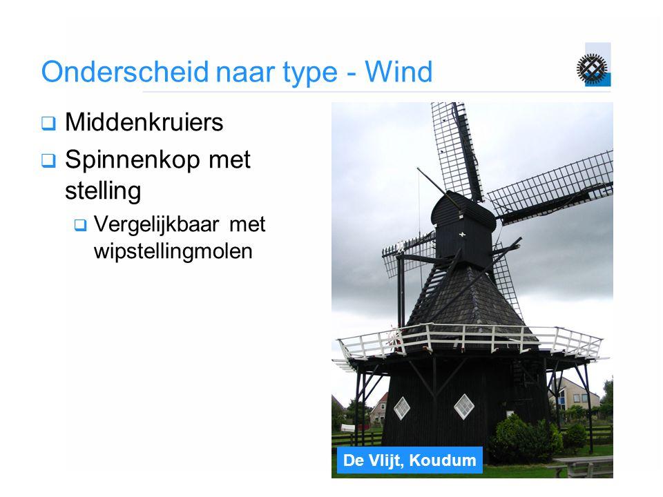 De Vlijt, Koudum Onderscheid naar type - Wind  Middenkruiers  Spinnenkop met stelling  Vergelijkbaar met wipstellingmolen