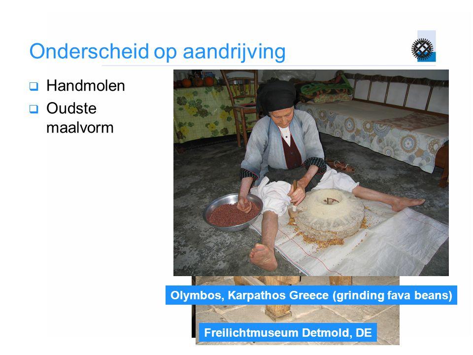 Avlona, Karpathos, Greece (kondalethos) Freilichtmuseum Detmold, DE Olymbos, Karpathos Greece (grinding fava beans) Onderscheid op aandrijving  Handm