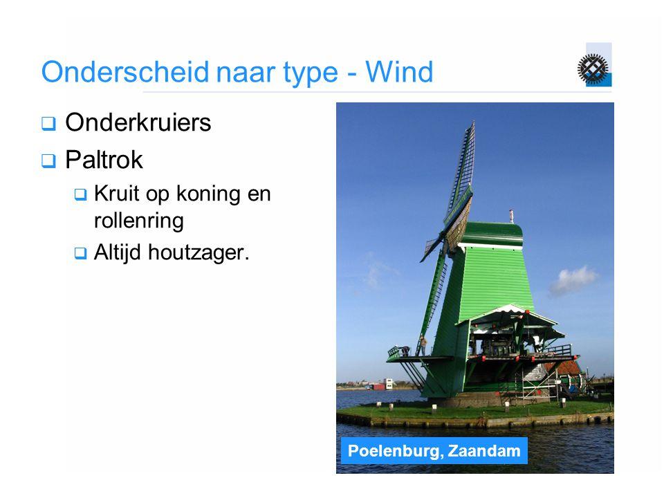 Poelenburg, Zaandam Onderscheid naar type - Wind  Onderkruiers  Paltrok  Kruit op koning en rollenring  Altijd houtzager.