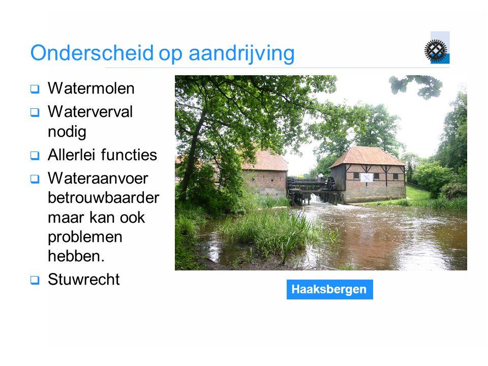 Haaksbergen Onderscheid op aandrijving  Watermolen  Waterverval nodig  Allerlei functies  Wateraanvoer betrouwbaarder maar kan ook problemen hebbe