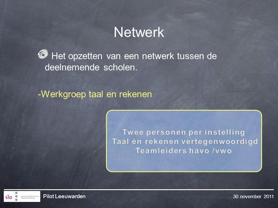 30 november 2011 Pilot Leeuwarden Het opzetten van een netwerk tussen de deelnemende scholen.