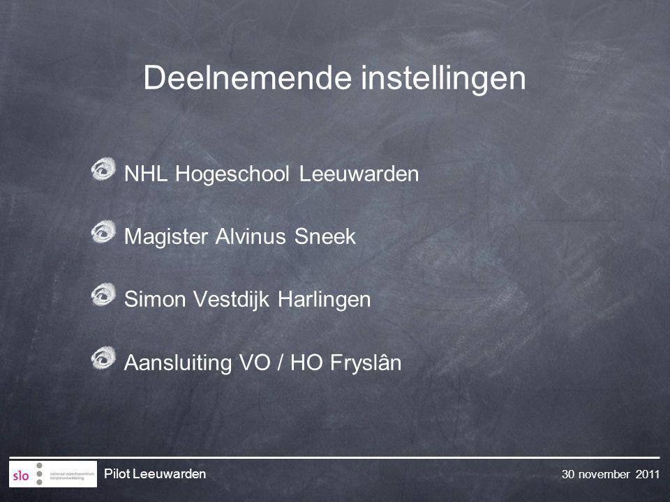 30 november 2011 Pilot Leeuwarden Deelnemende instellingen NHL Hogeschool Leeuwarden Magister Alvinus Sneek Simon Vestdijk Harlingen Aansluiting VO /