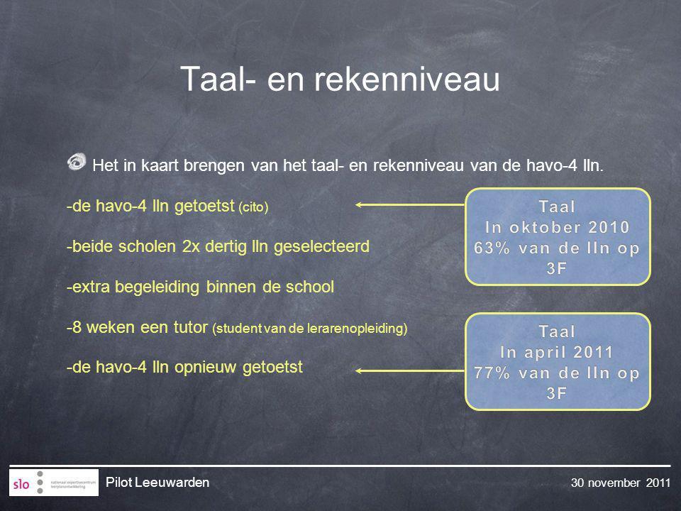 30 november 2011 Pilot Leeuwarden Taal- en rekenniveau Het in kaart brengen van het taal- en rekenniveau van de havo-4 lln. -de havo-4 lln getoetst (c