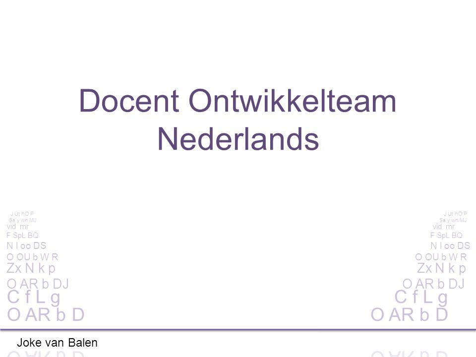 Docent Ontwikkelteam Nederlands Joke van Balen