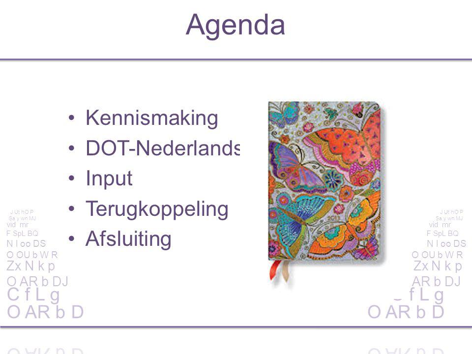 Kennismaking DOT-Nederlands Input Terugkoppeling Afsluiting Agenda