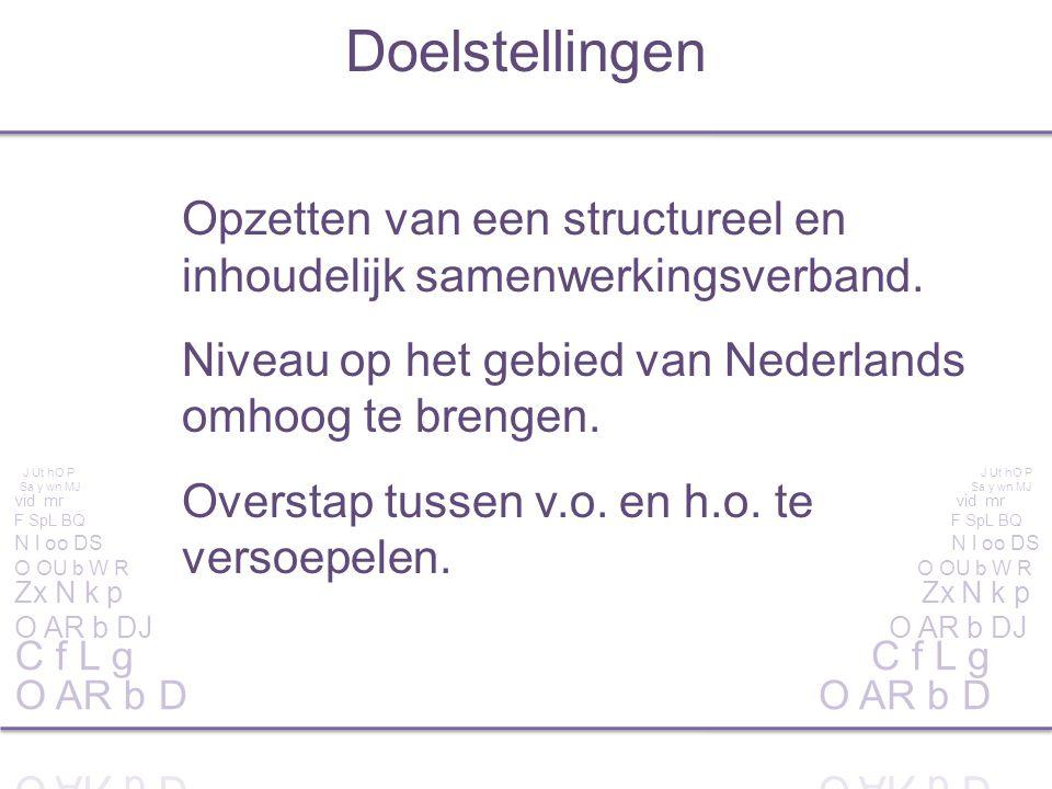 Opzetten van een structureel en inhoudelijk samenwerkingsverband. Niveau op het gebied van Nederlands omhoog te brengen. Overstap tussen v.o. en h.o.