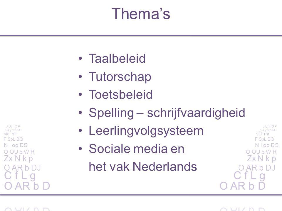 Taalbeleid Tutorschap Toetsbeleid Spelling – schrijfvaardigheid Leerlingvolgsysteem Sociale media en het vak Nederlands Thema's