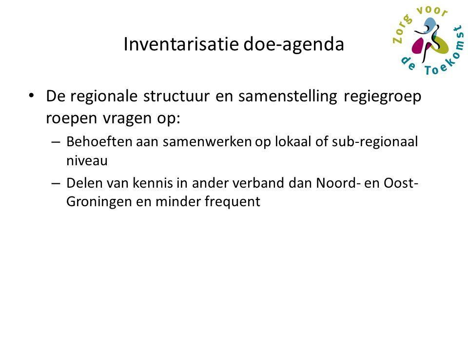 Inventarisatie doe-agenda De regionale structuur en samenstelling regiegroep roepen vragen op: – Behoeften aan samenwerken op lokaal of sub-regionaal niveau – Delen van kennis in ander verband dan Noord- en Oost- Groningen en minder frequent