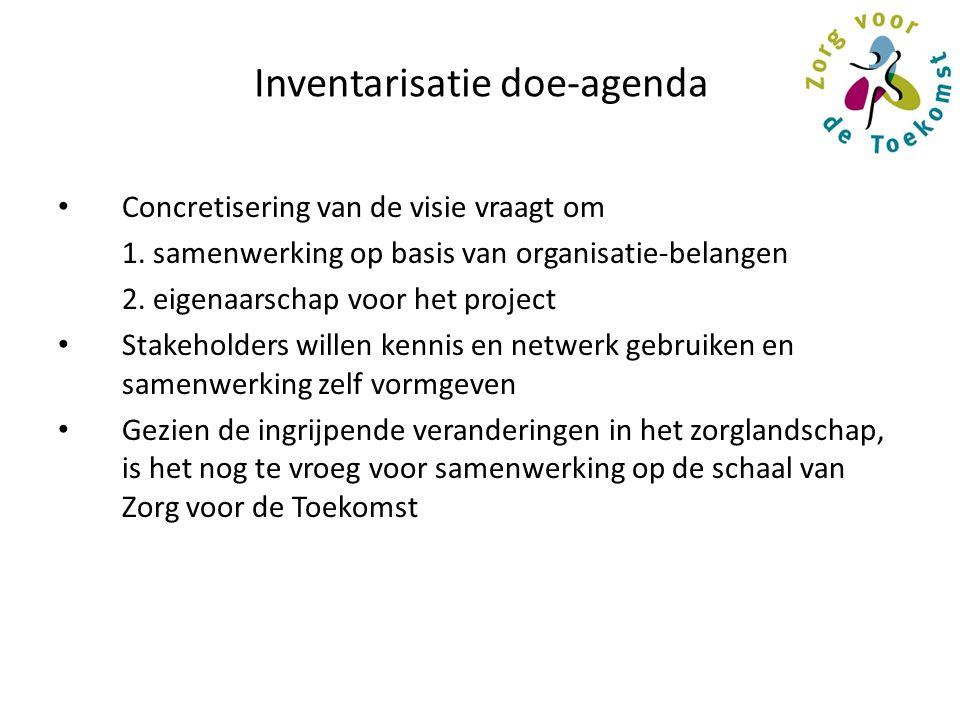Inventarisatie doe-agenda Concretisering van de visie vraagt om 1. samenwerking op basis van organisatie-belangen 2. eigenaarschap voor het project St
