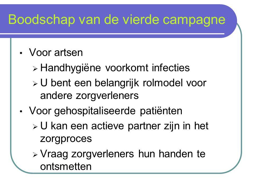 Boodschap van de vierde campagne Voor artsen  Handhygiëne voorkomt infecties  U bent een belangrijk rolmodel voor andere zorgverleners Voor gehospit