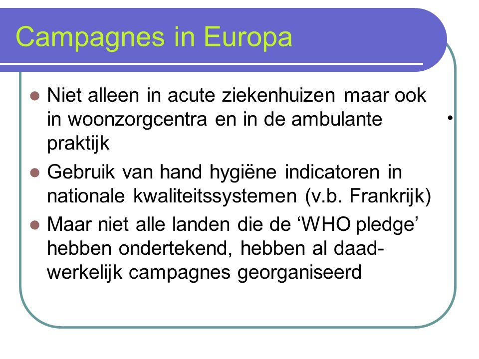 Campagnes in Europa Niet alleen in acute ziekenhuizen maar ook in woonzorgcentra en in de ambulante praktijk Gebruik van hand hygiëne indicatoren in n