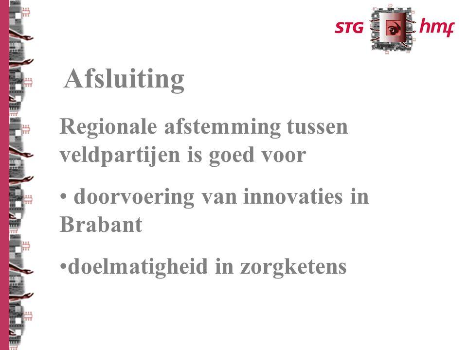 Afsluiting Regionale afstemming tussen veldpartijen is goed voor doorvoering van innovaties in Brabant doelmatigheid in zorgketens