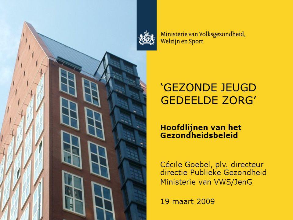 'GEZONDE JEUGD GEDEELDE ZORG' Hoofdlijnen van het Gezondheidsbeleid Cécile Goebel, plv.