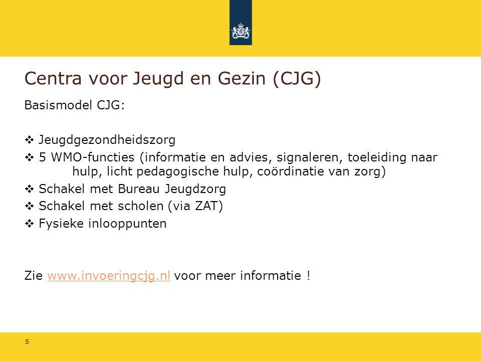 5 Centra voor Jeugd en Gezin (CJG) Basismodel CJG:  Jeugdgezondheidszorg  5 WMO-functies (informatie en advies, signaleren, toeleiding naar hulp, licht pedagogische hulp, coördinatie van zorg)  Schakel met Bureau Jeugdzorg  Schakel met scholen (via ZAT)  Fysieke inlooppunten Zie www.invoeringcjg.nl voor meer informatie !www.invoeringcjg.nl