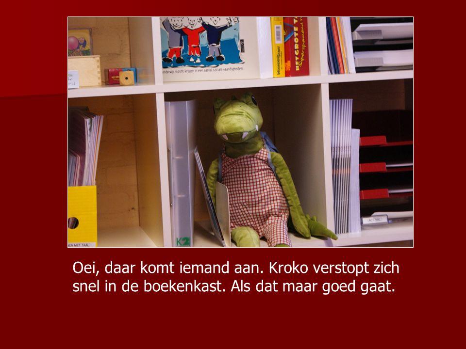 Oei, daar komt iemand aan. Kroko verstopt zich snel in de boekenkast. Als dat maar goed gaat.