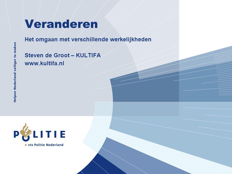 Veranderen Het omgaan met verschillende werkelijkheden Steven de Groot – KULTIFA www.kultifa.nl