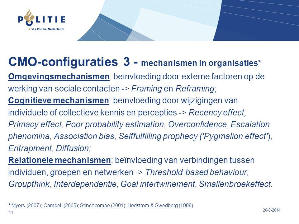 CMO-configuraties 3 - mechanismen in organisaties* Omgevingsmechanismen: beïnvloeding door externe factoren op de werking van sociale contacten -> Fra