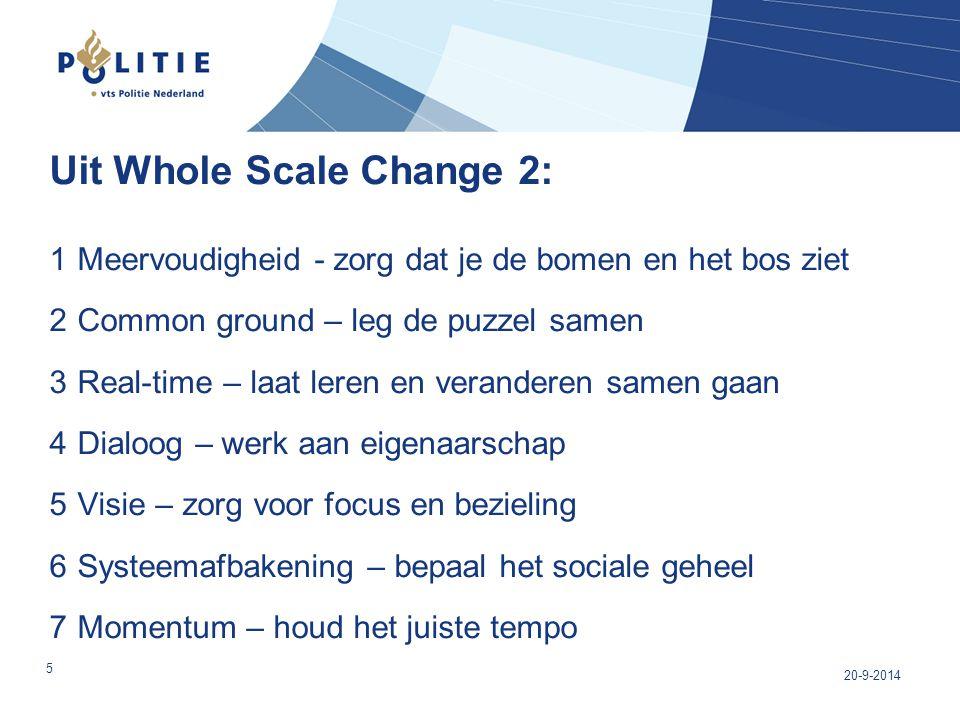 Uit Whole Scale Change 2: 1 Meervoudigheid - zorg dat je de bomen en het bos ziet 2 Common ground – leg de puzzel samen 3 Real-time – laat leren en ve
