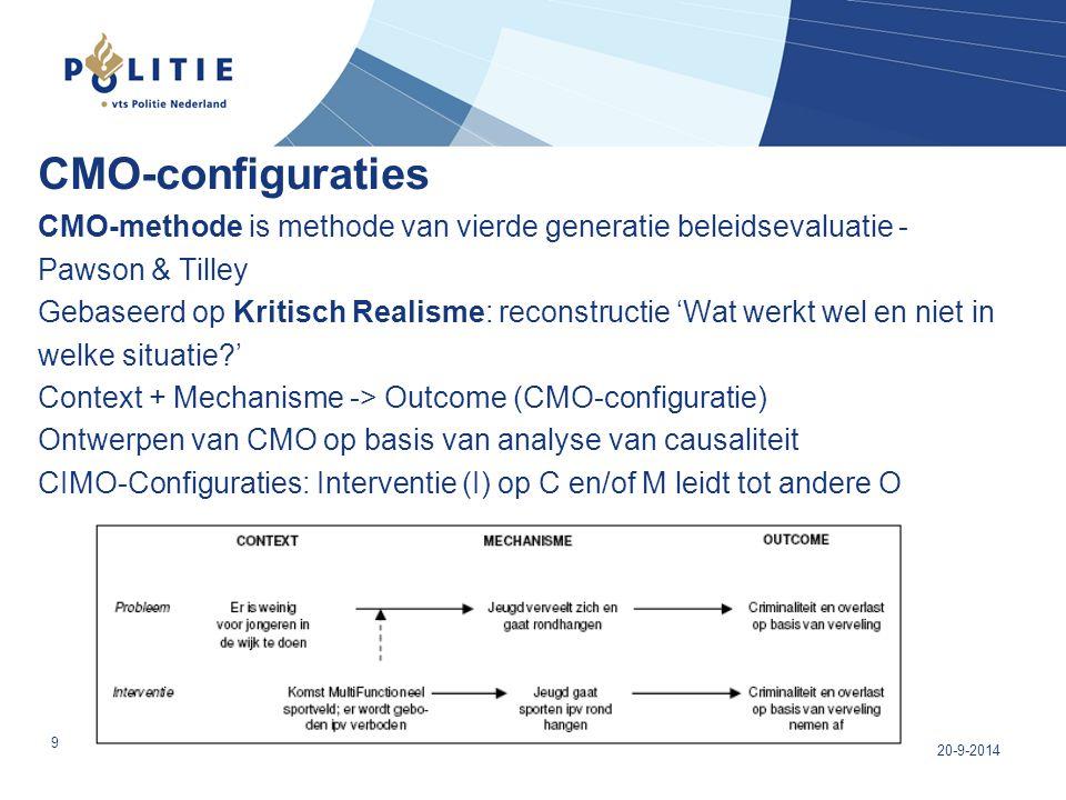 CMO-configuraties CMO-methode is methode van vierde generatie beleidsevaluatie - Pawson & Tilley Gebaseerd op Kritisch Realisme: reconstructie 'Wat we
