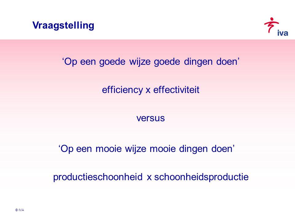 © IVA Vraagstelling 'Op een goede wijze goede dingen doen' efficiency x effectiviteit versus 'Op een mooie wijze mooie dingen doen' productieschoonhei
