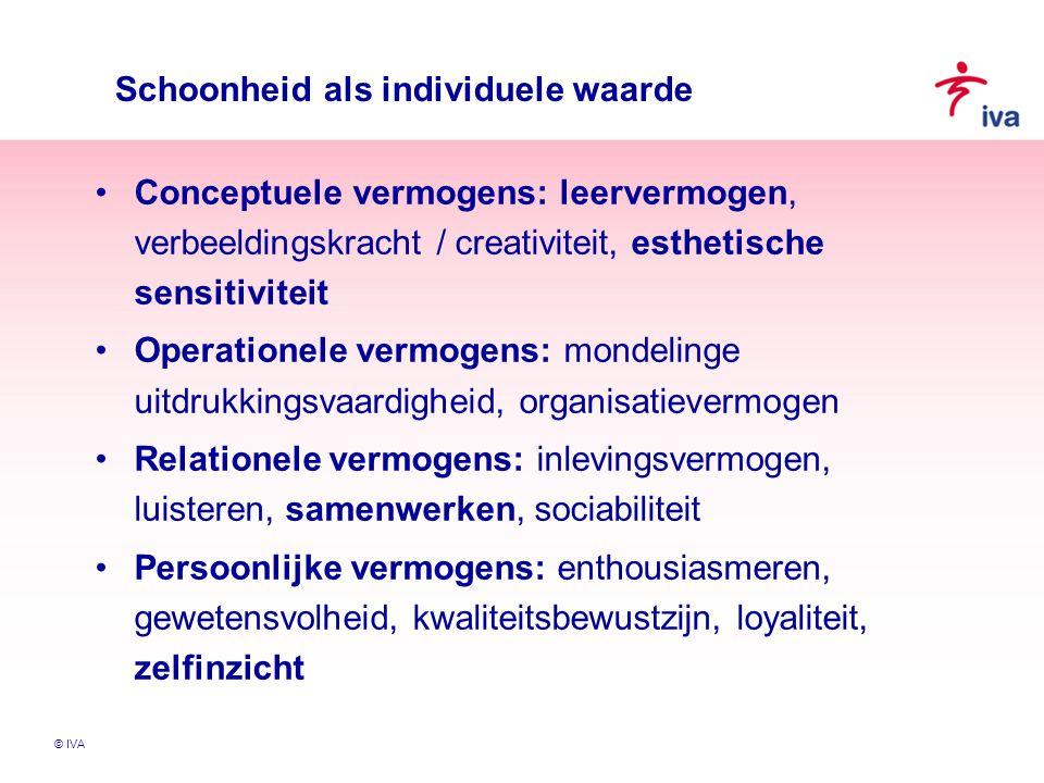 © IVA Schoonheid als individuele waarde Conceptuele vermogens: leervermogen, verbeeldingskracht / creativiteit, esthetische sensitiviteit Operationele