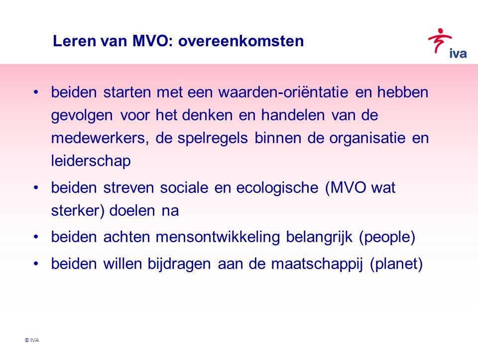 © IVA Leren van MVO: overeenkomsten beiden starten met een waarden-oriëntatie en hebben gevolgen voor het denken en handelen van de medewerkers, de sp
