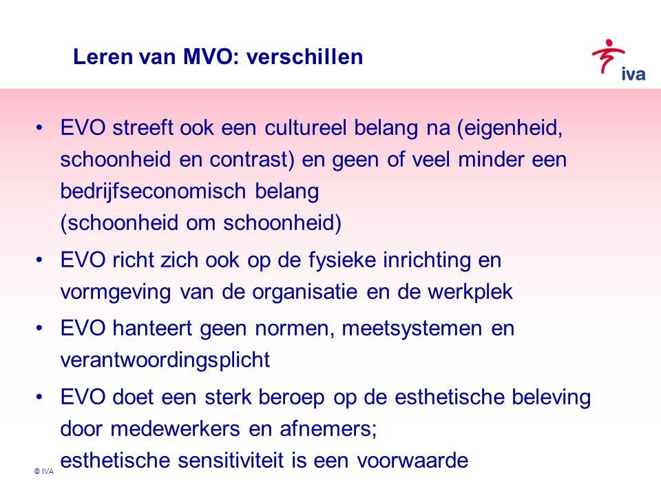 © IVA Leren van MVO: verschillen EVO streeft ook een cultureel belang na (eigenheid, schoonheid en contrast) en geen of veel minder een bedrijfseconom