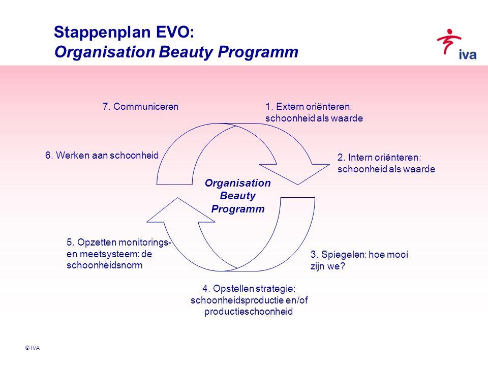 © IVA Stappenplan EVO: Organisation Beauty Programm 4. Opstellen strategie: schoonheidsproductie en/of productieschoonheid 1. Extern oriënteren: schoo