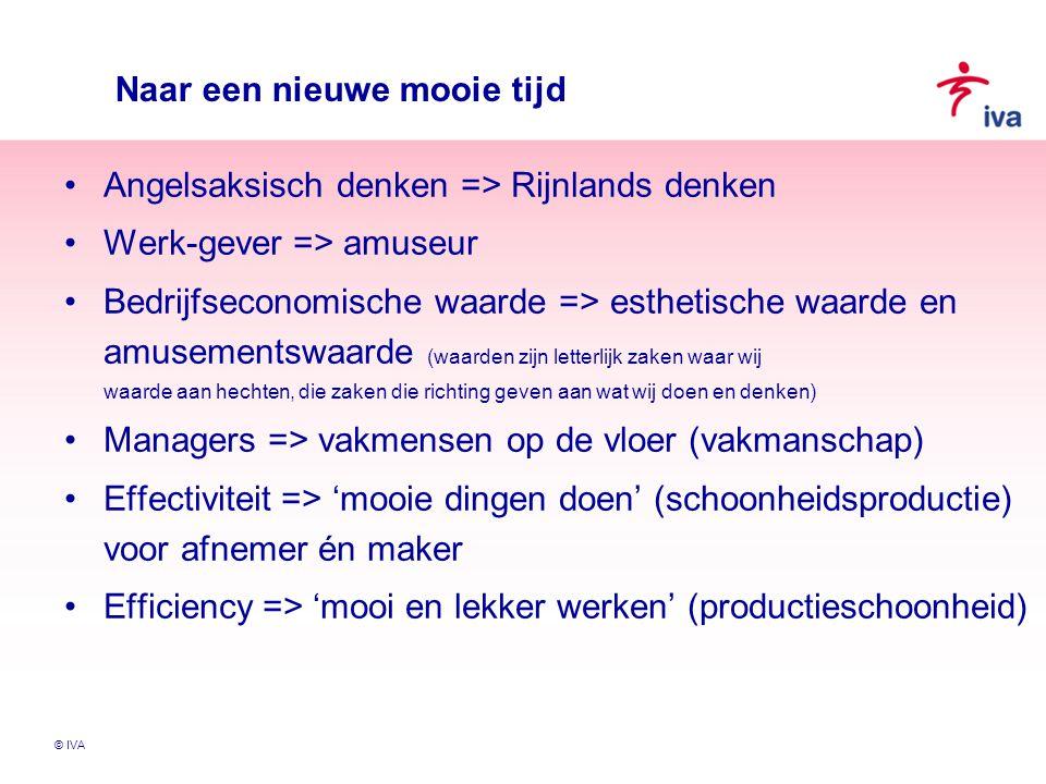 © IVA Naar een nieuwe mooie tijd Angelsaksisch denken => Rijnlands denken Werk-gever => amuseur Bedrijfseconomische waarde => esthetische waarde en am
