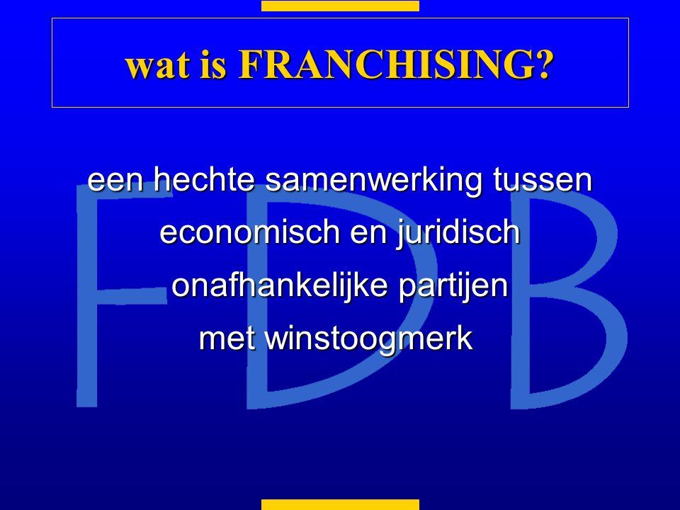 een hechte samenwerking tussen economisch en juridisch onafhankelijke partijen met winstoogmerk met winstoogmerk wat is FRANCHISING?
