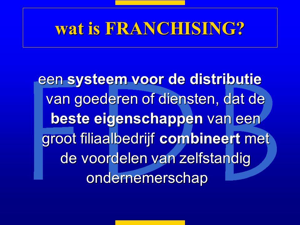 een systeem voor de distributie van goederen of diensten, dat de beste eigenschappen van een groot filiaalbedrijf combineert met de voordelen van zelfstandig ondernemerschap wat is FRANCHISING?