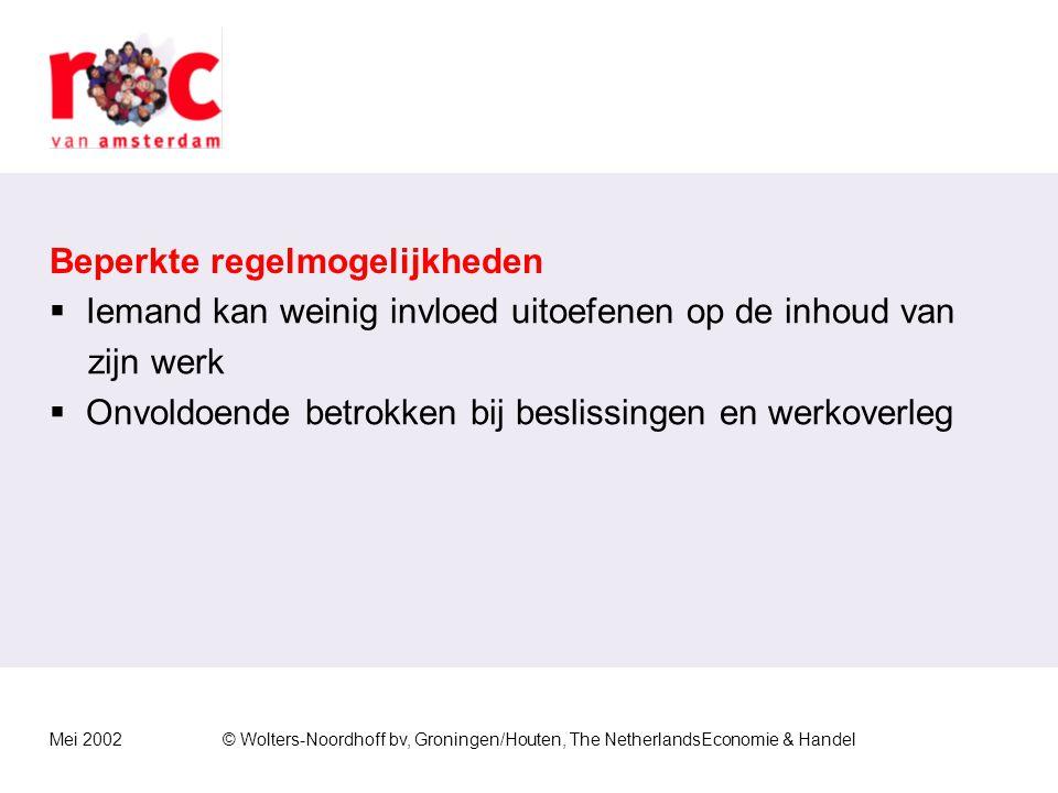 Mei 2002© Wolters-Noordhoff bv, Groningen/Houten, The NetherlandsEconomie & Handel Ongunstige taakinhoud  Saai en eentonig werk  Zwaar lichamelijke