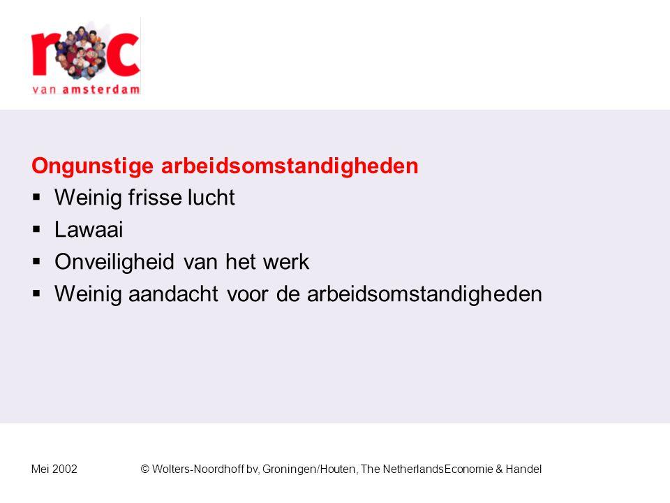 Mei 2002© Wolters-Noordhoff bv, Groningen/Houten, The NetherlandsEconomie & Handel Beperkte regelmogelijkheden  Iemand kan weinig invloed uitoefenen