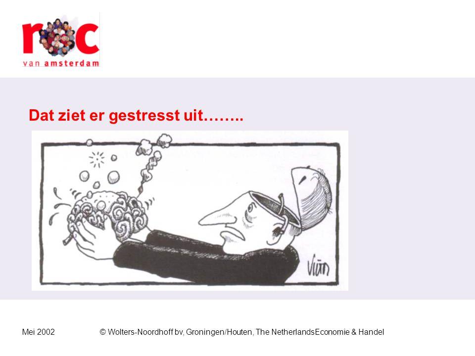 Mei 2002© Wolters-Noordhoff bv, Groningen/Houten, The NetherlandsEconomie & Handel Herkennen van stress Lichamelijke klachten Beven Hoofdpijn Duizelig