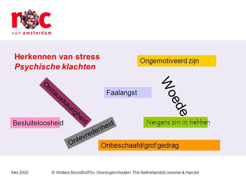 Mei 2002© Wolters-Noordhoff bv, Groningen/Houten, The NetherlandsEconomie & Handel Dat ziet er gestresst uit……..
