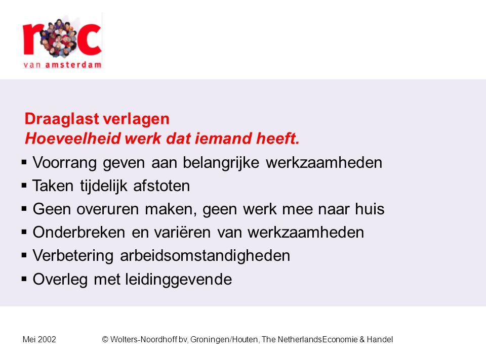 Mei 2002© Wolters-Noordhoff bv, Groningen/Houten, The NetherlandsEconomie & Handel Draagkracht vergroten Hoeveelheid werk die iemand aankan.  Haalbar