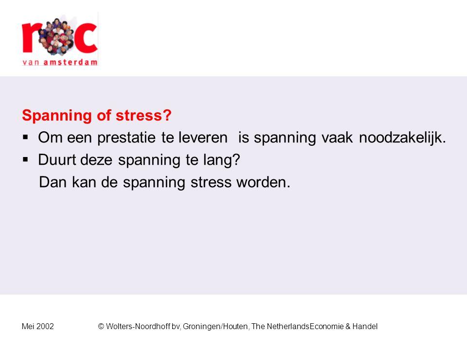 Mei 2002© Wolters-Noordhoff bv, Groningen/Houten, The NetherlandsEconomie & Handel Spanning of stress.