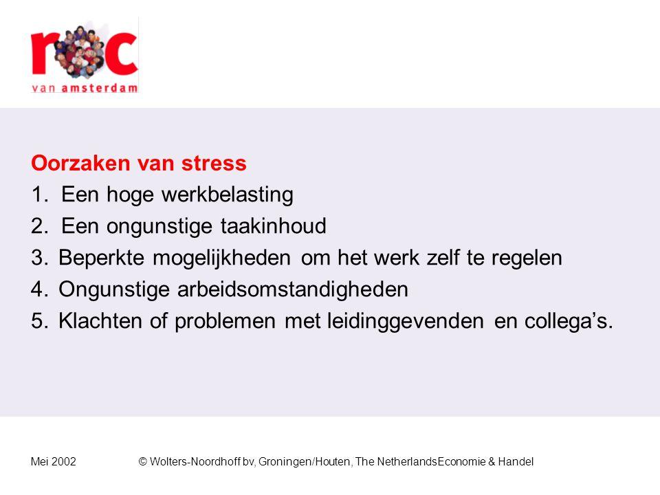 Mei 2002© Wolters-Noordhoff bv, Groningen/Houten, The NetherlandsEconomie & Handel Oorzaken van stress 1.