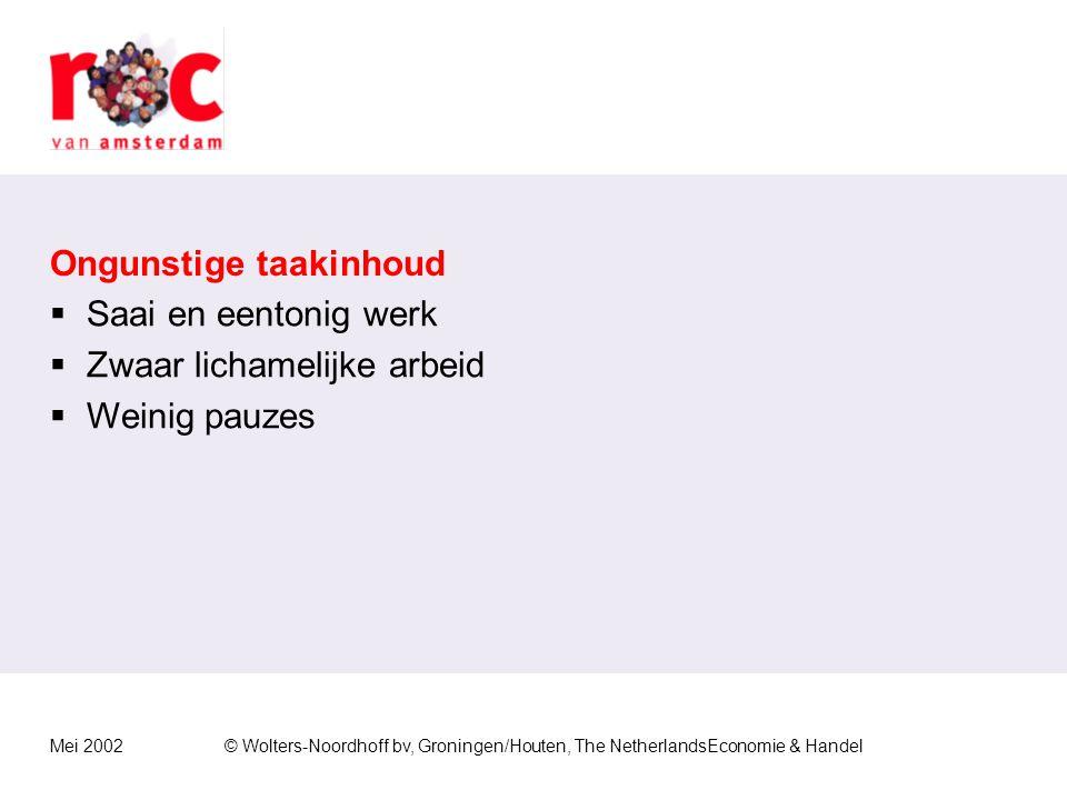 Mei 2002© Wolters-Noordhoff bv, Groningen/Houten, The NetherlandsEconomie & Handel Hoge werkbelasting  Er moet veel werk verzet worden in een hoog te